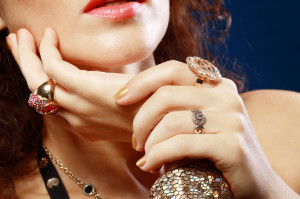 35277412 - woman with luxury jewelry hands close up